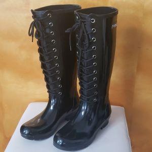 ROMA Black Shiney Rubber Lace-Up Rain Boots